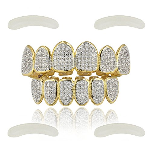 JINAO 18k Gold Plated All Iced Out Luxury Rhinestone Gold Grillz Set with Extra Molding Bars Included (Classic -