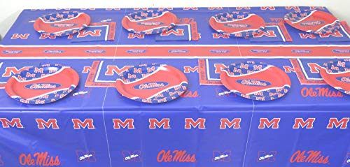 (University of Mississippi Ole Miss, 4th of July 48 Piece Snack Party Set. Includes 16 Plates 7