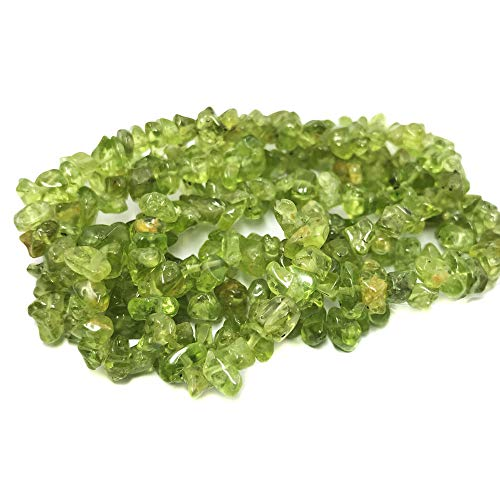 (THETASTEJEWELRY Natural Peridot AB Grade Chips 5-8mm 16'' Crystal Energy Natural Stone Healing Power for Jewelry Making Supplies)