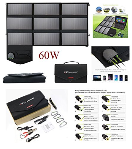 ALLPOWERS 80W Foldable Solar Panel SunPower Portable Solar Charger Generator with iSolar Technology for Laptop, Tablet, ipad,Smartphone, iPhone, Samsung, USB powered, Portable Batteries (60W) by ALLPOWERS