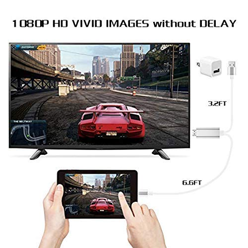 6.6ft iPhone to HDMI Adapter Connector 1080P HDTV Cable Baymic Compatible with iPhone iPad to HDMI Cable Digital AV Adapter Cord for iPhone X//8//7//6s Plus//iPad//iPod to TV Projector Monitor