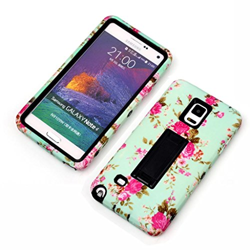 Note 4 Case,Not 4 Black Cases,Candywe Case For Samsung Galaxy Note 4,Blue Flowers Picture 3in1 Design Hybrid Case With Stand Case Cover For Samsung Galaxy Note 4