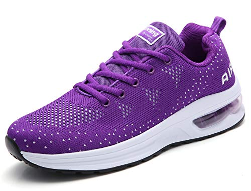 women sport trail running shoes 2019 summer air cushion flyknit breathable comfort athletic walking shoes ladies youth girls tennis shoes gym workout fashion sneakers purple size 5 (A35-purple-39)