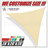 ColourTree 28' x 28' x 28' Beige Triangle Sun Shade Sail Canopy – UV Resistant Heavy Duty Commercial Grade -We Make Custom Size