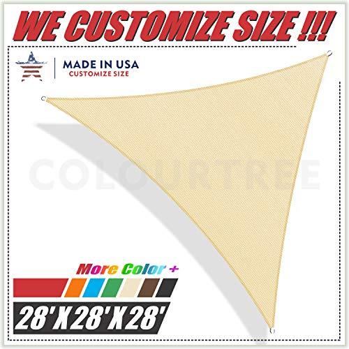 ColourTree 28 x 28 x 28 Beige Triangle Sun Shade Sail Canopy UV Resistant Heavy Duty Commercial Grade -We Make Custom Size