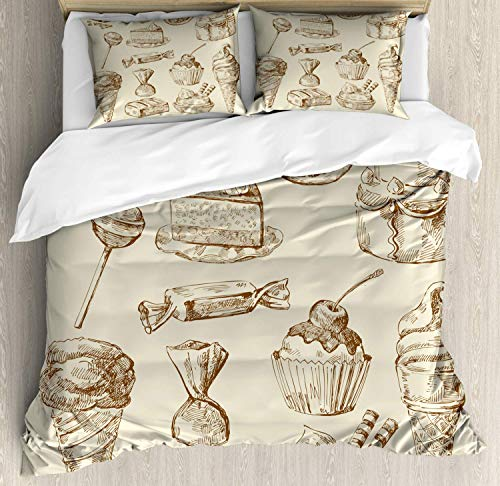 Cookie Bedding Duvet Cover Set, Chocolate Crumbs Lollipops Pieces of Cake Birthday Ice Cream Cone Sketch, Decorative 3 Piece Bedding Set with 2 Pillow Shams, Eggshell and Umber -King ()
