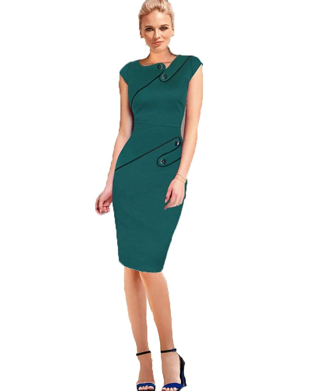 YipGrace Frauen Elegante Ol Bodycon Unregelmäßige Ansatz Kleid