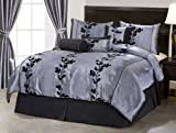 "Nanshing America 7 Pieces Grey and Black Embroidery Floral Comforter 106"" X 92"" bed-in-a-bag Set King Size Bedding"