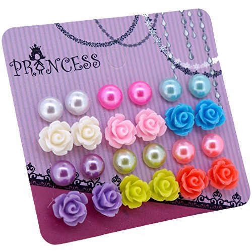 Color 8mm Faux Pearl and Rose Flower Magnetic Stud Earrings for Teen Girls Kids Womens