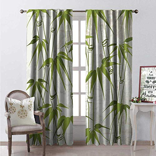Bamboo Window Curtain Fabric Hand Drawn Bamboo Plant Sketch Tropical Environment Jungle on Grungy Background Drapes for Living Room W84 x L96 Multicolor