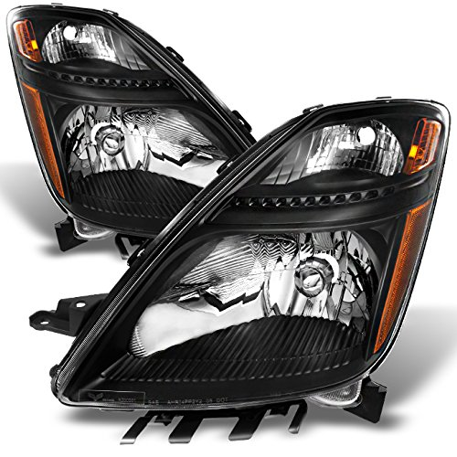 For Toyota Prius Halogen Type Black Headlights Driver Left + Passenger Right Side Replacement Pair Set