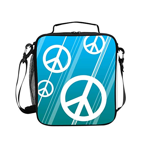 Lunch Bags Large Capacity Durable Insulated Lunch Box Blue Peace Sign Cooler Tote Bag