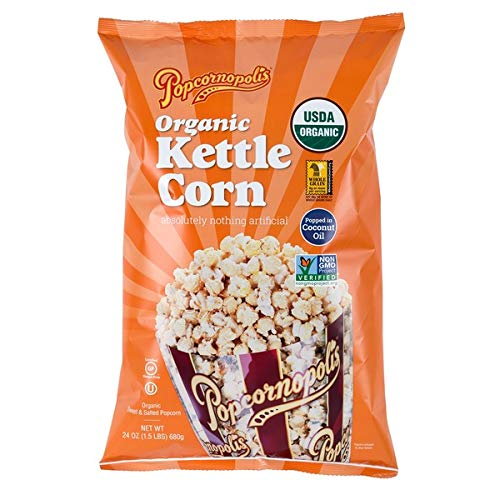Popcornopolis Organic Kettle Corn, Extra Large 24 Ounce Bag (Gluten Free, Non-GMO, Popped in Coconut Oil)