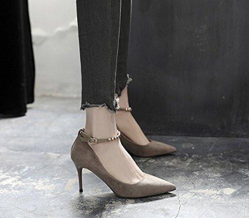 Ajunr Moda/elegante/Transpirable/Sandalias 8cm zapatos de tacón Los tacones finos Zapatos de mujer Boca superficial Gris Una palabra de la hebilla Sexy Solo zapatos ,35 39