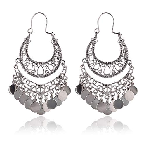 RIAH FASHION Bohemian Chandelier Coin Dangle Earrings - Gypsy Lightweight Filigree Disc Charm Tassel Ethnic Hoops (Hematite)