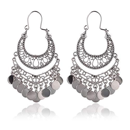 RIAH FASHION Bohemian Chandelier Coin Dangle Earrings - Gypsy Lightweight Filigree Disc Charm Tassel Ethnic Hoops (Hematite) ()