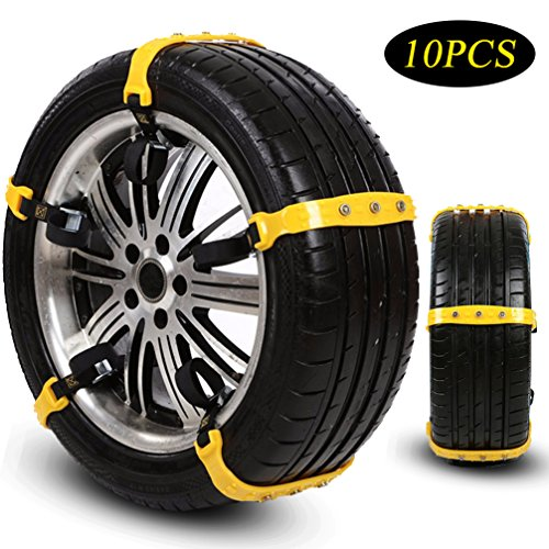 Snow Chains Tire Chains for SUV Cars Trucks Vehicle Universal Security Chain Anti Skid Chains For Ice Snow Mud Sand Universal 10PCS 7.2-11.6'' Easy To Install Remove Adjustable Durable Winter Driving
