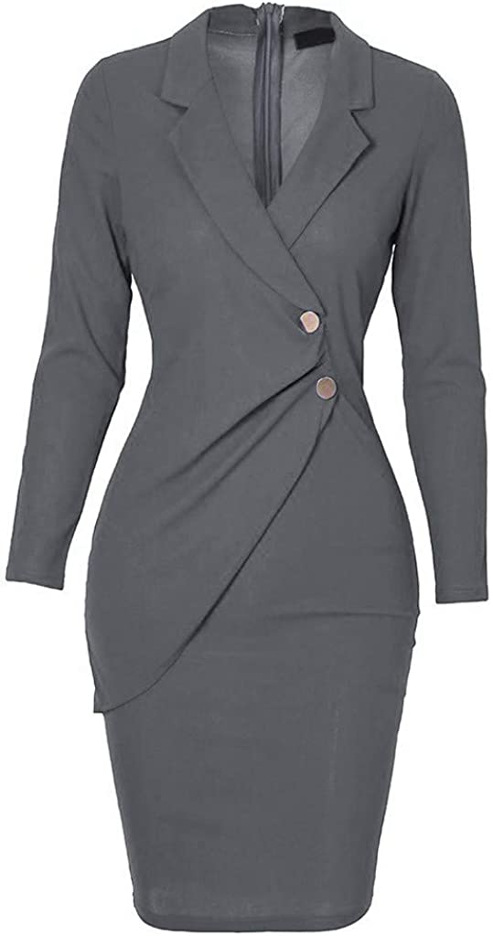 Momoxi Plus Size 2020 New Women Dress Spring Summer Casual Elegant Turn Down Neck Long Sleeve Ladies Daily Vintage Cocktail Office Work Formal Holiday Evening Party Knee-Length Dress,S-2XL