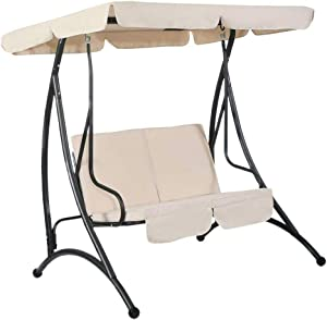 LQKYWNA Swing Seat Canopy, Rainproof Garden Chair Replacement Top Cover Dust Guard Protector for 2 & 3 Seater Sizes Outdoor Porch Patio Yard Garden Hammock (Beige,Three-Seater XL)