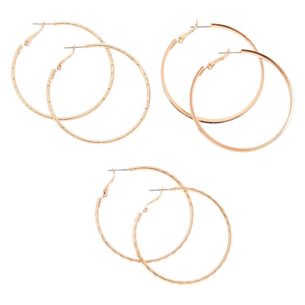 Claires Girls Rose Gold 50MM Hoop Earrings 3 Pack