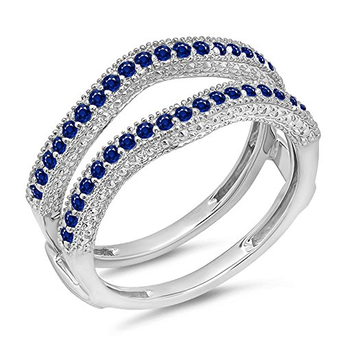 (0.45 Carat (ctw) 14K White Gold Blue Genuine Sapphire Diamond Wedding Millgrain Guard Ring 1/2 CT)