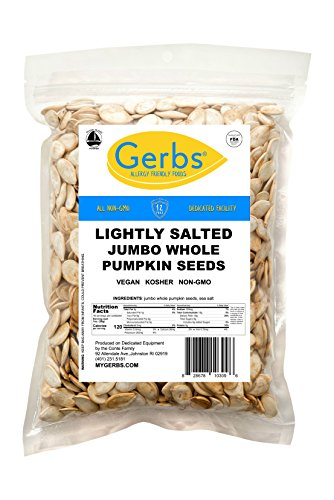 - Jumbo Lightly Sea Salted Whole Pumpkin Seeds, 1 LB. by Gerbs – Top 12 Food Allergy Free & NON GMO - Vegan & Kosher - Premium Quality Grown in United States