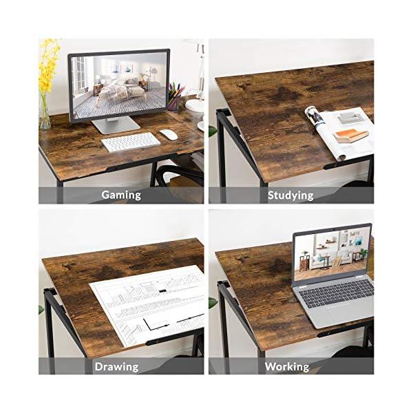 HOOBRO Bureau, Table Informatique, Table d'Ordinateur, Table à Dessin, Dessus de Table Inclinable, avec Tiroir et…