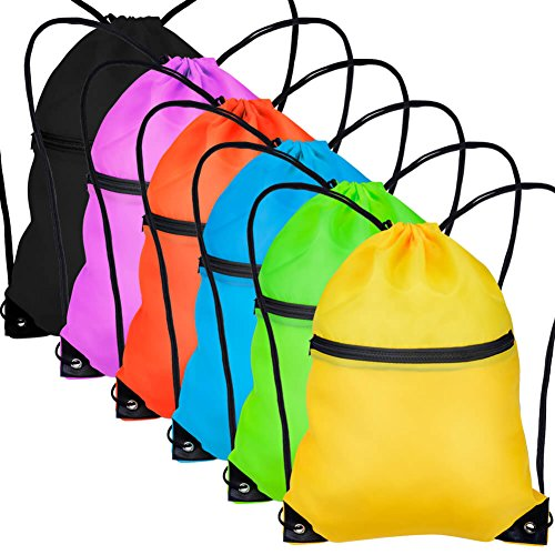 Paxcoo 6 Pack Drawstring Backpack with Pocket Cinch Sack String Tote Nap Bag Bulk for Gym ()