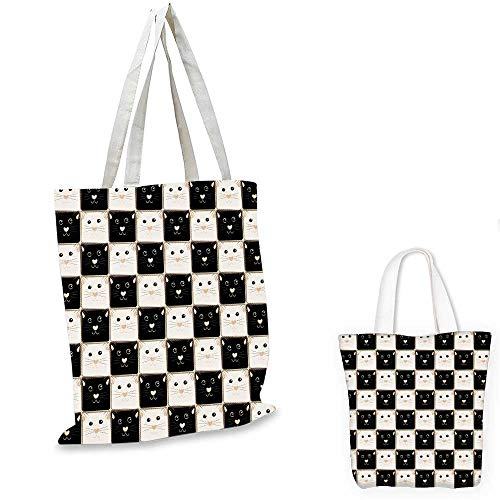 Checkers Game small clear shopping bag Checkered Squares with Cute Cat Faces in Classic Game Board Pattern fruit shopping bag Dark Brown Beige. 16