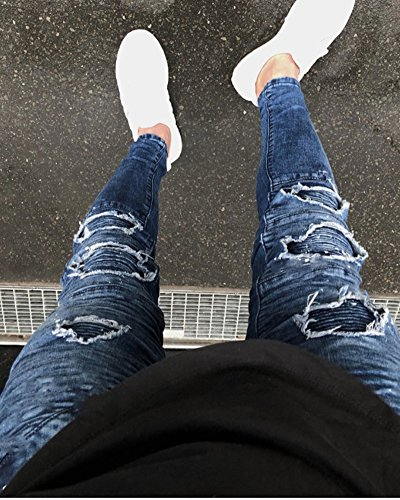 Denim Distrutto Strappatti Jeans Uomo Skinny Blu Biker Fit Pantaloni rqTtwr
