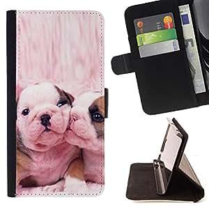 Stuss Case / Funda Carcasa PU de Cuero - Bulldog francés Perros lindos del rosa del amor - MOTOROLA MOTO X PLAY XT1562