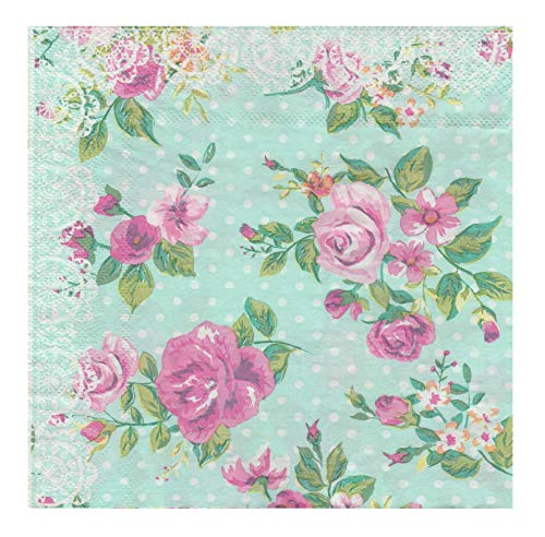 40 Count Paper Napkins, Designed Romantic Flowers Prints Cocktail Napkins, Serviettes Napkins for Weeding, Dinner and Party, Paper Luncheon Napkins 2-Ply, 13x13 Inch (Romantic Collection, Flower 11)