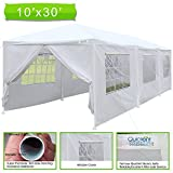 10x30 carport - Quictent 10' x 30' Upgraded Heavy Duty Steel Pipes Canopy Gazebo Wedding Party Tent with Elegant Church Window& Rollable window Cover