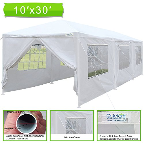 3 Structural Steel Pipe (Quictent Upgraded Steel Pipes 10' x 30' Heavy Duty Canopy Gazebo Wedding Party Tent with Elegant Church Window& Rollable window Cover)