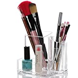 RPY Durable Acrylic Clear Makeup Brush Organizer Cosmetic Holder with 3 Compartments