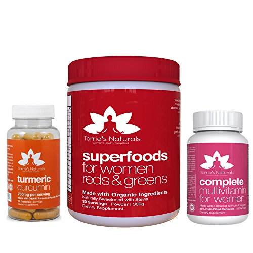 Women's 365 Complete Health Combo: Women's Superfood Red & Greens + Whole Foods Multivitamin + Organic Turmeric. Energy, Antioxidants, Immune Booster, Inflammation Relief - 30 Day Supply by Torrie's Naturals