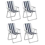 Folding Portable Beach / Camping Deck Chair - Blue Stripe - Pack of 4