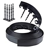 Lawn Edging Black 10m Long 6cm high Flower Bed Chris Pin System–Made from Flexible Plastic Lawn Edging/Flower Round Mowing Edges + 6Fixing Nails Per Meter