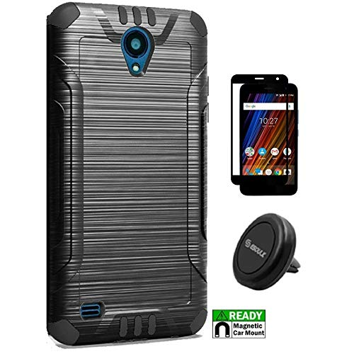 Cricket Wave Case, Phone Case for Cricket Wave (2018), Dual Layer Metallic Brushed Finish Cover Case [Tempered Glass Screen Protector] + Air Vent Magnetic Car Mount Phone Holder - Screen Protector Cricket