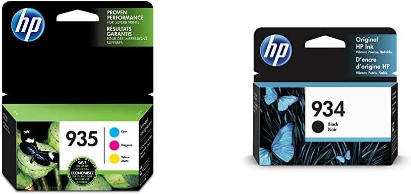 HP 935 | 3 Ink Cartridges | Cyan, Magenta, Yellow | C2P20AN, C2P21A, C2P22AN & 934 | Ink Cartridge | Black | C2P19AN