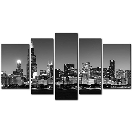 Wall Art Decor Poster Painting On Canvas Print Pictures 5 Pieces Panoramic View of Chicago Skyline at Night in Black and White Place Cityscape Framed Picture for Home Decoration Living -