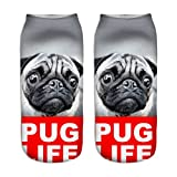 Pug Life Animals Print 3D Sock Unisex Low Cut Ankle Socks Cute Crazy Casual