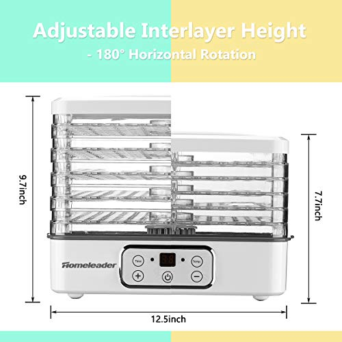 Food Dehydrator, Electric Digital Food Dehydrator Machine for Jerky, Fruit, Vegetables & Nuts, Vegetable Dryer with Timer and Temperature Control, Homeleader Food Dehydrator with Five Trays, LCD Display Screen, K33-022 by Homeleader (Image #4)
