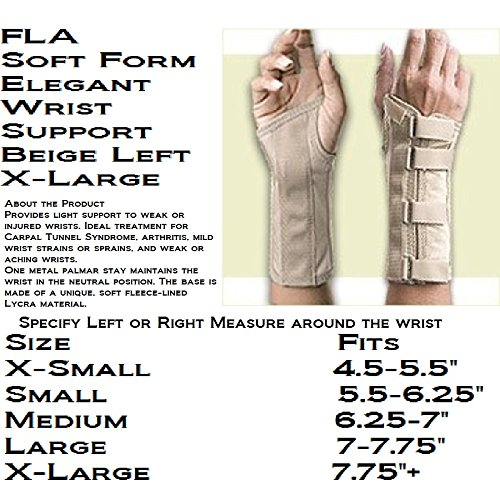 FLA Soft Form Elegant Wrist Support Beige Left X-Large