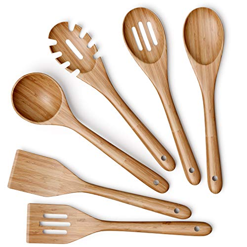 Wooden Kitchen Utensils Set – 6 Piece Non-Stick Bamboo Wooden Utensils for Cooking – Easy to Clean Reusable Wooden…