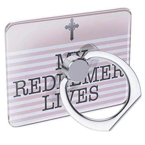 Cell Phone Ring Holder My Redeemer Lives Religious Easter Cross Pink Collapsible Grip & Stand Neonblond