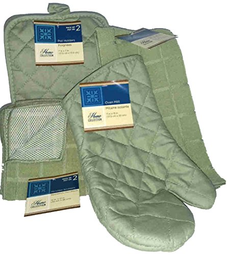 The Home Store Sage Green Windowpane Pattern Kitchen Linens Collection