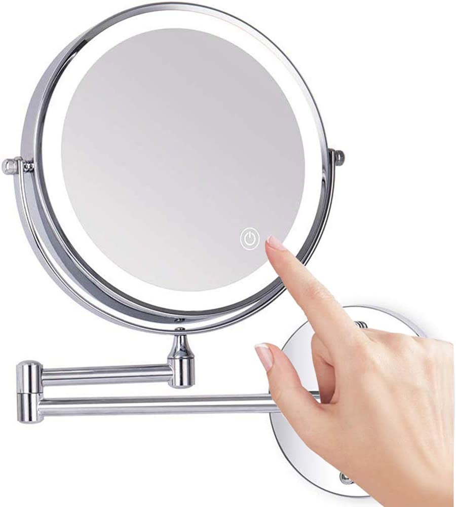 Huante LED-Kosmetikspiegel flexibel beleuchtet 10-fache Vergr/ö/ßerung rund 360 Grad drehbar