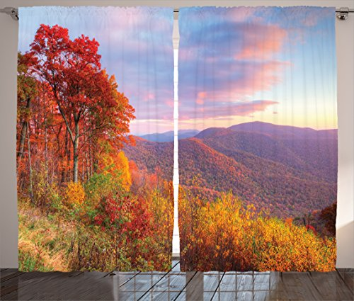 Ambesonne Apartment Decor Collection, Sunrise with Stunning Sky Colors in Autumn Falls at South Western Village Scenery, Living Room Bedroom Curtain 2 Panels Set, 108 X 84 Inches, Red Yellow Blue