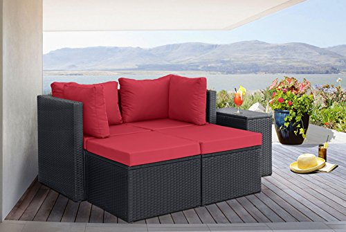 Outdoor Patio Rattan Wicker Configurable Furniture Set with Cushions (Black/Red) (Red Convertible Sofa)